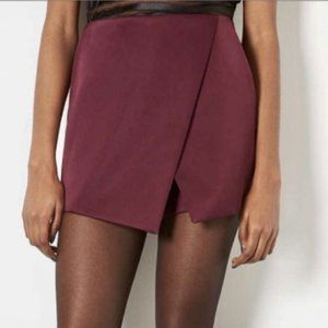 Topshop Mulberry HiRise Luxe Satin Faux Wrap Skirt